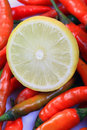 Lemon and chillies Royalty Free Stock Photo