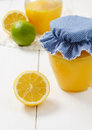 Lemon curd in the jar Stock Photography