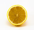 Lemon cut in half on white background Stock Photo