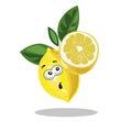 Lemon cute character surprised with half cut lemon