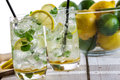 Lemon drink with ice in glass Royalty Free Stock Images