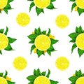 Lemon fruits with green leaves isolated on white background. Watercolor drawing seamless pattern for design. Royalty Free Stock Photo