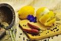 Lemon, garlic,  chile pepper Royalty Free Stock Photography