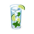 Lemon glass with ice cubes and mint isolated Stock Photo