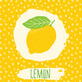 Lemon hand drawn sketched fruit with leaf on yellow background with dots pattern. Doodle vector lemon for logo, label Royalty Free Stock Photo