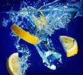Lemon and ice spalsh Stock Image