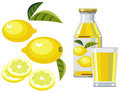 Lemon juice with bottle, glass and lemons Royalty Free Stock Photography