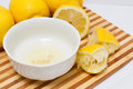 Lemon juice in bowl Royalty Free Stock Photo