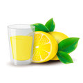 Lemon juice on a white background Royalty Free Stock Photo