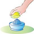 Lemon juicer vector illustration of hand squeezing Royalty Free Stock Photo