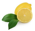 Lemon with leaves isolated on white a Stock Photography