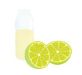 Lemon and lemon juice cleaved lemons a glass bottle of Royalty Free Stock Photo