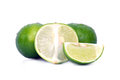 Lemon or lime fruit with half cross section and partial section x other names are in french citrus green key persian kaffir desert Royalty Free Stock Images