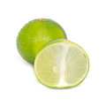 Lemon or lime fruit with half cross section and partial section x other names are in french citrus green key persian kaffir desert Royalty Free Stock Photography