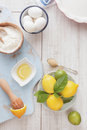 Lemon lime icebox pie being prepared Royalty Free Stock Photo