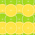 Lemon and lime seamless pattern with ripe juicy fruit Stock Photography