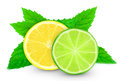 Lemon with lime slice and mint on a white background Royalty Free Stock Images