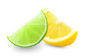 Lemon and lime slice of on a white background Stock Photos