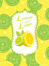 Lemon and lime vector illustration background Stock Photos