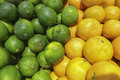 Lemon and limes on display in grocery store Stock Photography