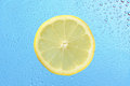 Lemon with many water drops Royalty Free Stock Photos