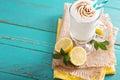 Lemon milkshake with meringue on top browned Stock Photos