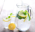 Lemon and mint fizz selective focus Royalty Free Stock Photos