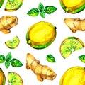 Lemon, mint, ginger watercolor seamless pattern on white background.