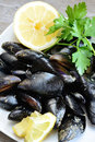 Lemon and mussels raw pieces of with parsley on wooden table Stock Photography