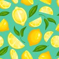 Lemon pattern. Lemonade exotic yellow juicy fruit with leaves illustration or wallpaper vector seamless background