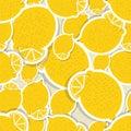 Lemon pattern. Seamless texture with ripe lemons Royalty Free Stock Photo