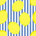 Lemon pattern. Summer fruit vector illustration on blue stripped background. Royalty Free Stock Photo