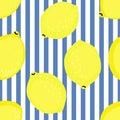 Lemon pattern. Summer fruit vector illustration on blue stripped background. Royalty Free Stock Photo