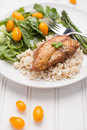 Lemon Pepper Chicken with Rice with Italian salad Royalty Free Stock Photo