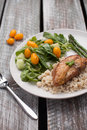 Lemon Pepper Chicken with Rice vertical shot Royalty Free Stock Photo