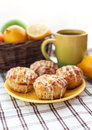 Lemon poppy seed muffins plate of fresh with icing Stock Photography