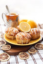 Lemon poppy seed muffins plate of fresh with icing Stock Images