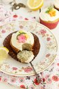 Lemon and poppy seeds cupcakes Royalty Free Stock Image