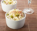 Lemon rice with bacon and peas in a cup Royalty Free Stock Image