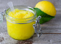 Lemon scrub with sugar, honey and olive oil Royalty Free Stock Photo
