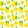 Lemon seamless pattern. Lemonade endless background, texture. Fruits background. Vector illustration. Royalty Free Stock Photo