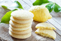 Lemon shortbread cookies homemade bakery products stack of with flavor Royalty Free Stock Photo