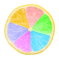 Lemon slice multicolored close up Royalty Free Stock Images