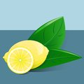 Lemon with slice and two leafs Stock Photography