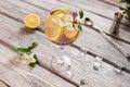 Lemon slices inside a drink. Royalty Free Stock Photo