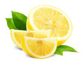 Lemon slices with leaves isolated on the white background Royalty Free Stock Photo