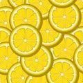 Lemon slices yellow seamless pattern. Vector image