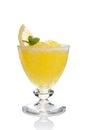 Lemon slushie cups decorated with mint isolated Royalty Free Stock Image