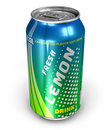 Lemon soda drink in metal can Stock Images