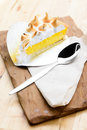 Lemon tart on wooden table Royalty Free Stock Images